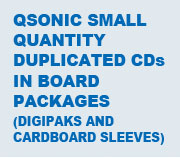 Qsonic CDs in Board Packages (Digipaks and Cardboard Sleeves)